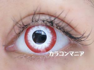 ハロウィン用カラコン/エスカ(ゾンビレッド)のメイク画像