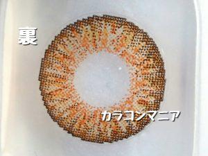 ローズベリーvivid(ヴィヴィッド) ハニーブラウンのレンズ裏面/大きさや着色直径